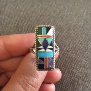 Vintage Zuni Native American Inlay Stones Ring